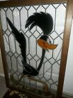 Warner Brothers Roadrunner Lg Vintage Leaded Stained Glass Window w Chain 3x2