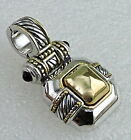 GOLD  SILVER PLATED PENDANT MODERNIST CABLE BLACK GLASS GRIPOIX STYLE SIGNED