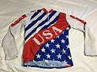 Vintage USA Cycling Jersey Mens Riding Long Sleeve Clothing Bike Wear Large