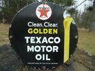 OLD 1948 GOLDEN TEXACO MOTOR OIL PORCELAIN SIGN PUMP PLATE GAS STATION TEXAS CO.