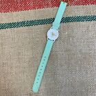Vintage 1991 GUESS Mint Green White & Gold Logo Mini Face Watch, Working