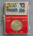 First Man On The Moon 50th Anniversary Stamp  Dollar Coin Set