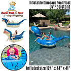 Inflatable Dinosaur Pool Float Giant T Rex Floatie Summer Beach Ride On Lounge