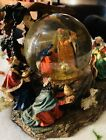 KIRKLAND MUSICAL SNOW GLOBE NATIVITY SCENE REVOLVING RESIN GLASS GLOBE