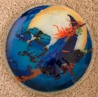 Vintage Retired Peggy Karr HUGE Halloween Witch On Broomstick Plate Platter TRAY