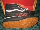 Vans SK8 Mid Black  Red Flame Cut Out Mens Skate Shoes Size 13 NEW