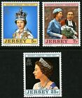 JERSEY 1977 SILVER JUBILEE SET OF ALL 3 COMMEMORATIVE STAMPS MNH a