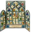 VTG 1950s Tri Fold Hallmark Christmas Advent Nativity Calendar Cathedral