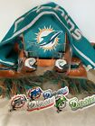 Miami Dolphins NFL Glass 2 Knit Scarf Insulated Lunch Bag  Stickers Bundle
