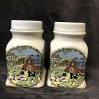 Vintage Ceramic Salt And Pepper Shakers With Farm Pictures And Animals