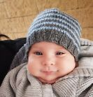 Baby beanie Hand knitted aprox 0-3 months 32cm - 40cm