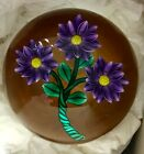 BOB BANFORD Glass Paperweight 3 Violet and Yellow Flowers w Amber Background