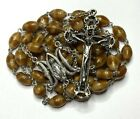 HUGE HEAVY MODERN SILVER  RING CAPPED MARBEL SWIRL STYLE GLASS ROSARY 37