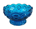 Vintage Blue Glass Footed Bowl Pedestal Compote Candy Dish
