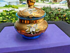 Vtg Bohemian Blue Glass Gold Overlay Applied Flowers Covered Jar