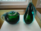 Murano Blue Green Apple and Pear Bookends Pair 2