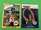LOT (2) SLU STARTING LINEUP CARDS 1988 LARRY BIRD, 1990 MAGIC JOHNSON