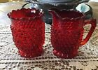 Vintage CHERRY RED HOBNAIL Creamer  Sugar Set Its A True STUNNER Must See