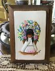 Vintage De Grazia Floral Picture Ceramic Pottery on Wood Native Child See