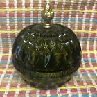 Green Indiana Glass Candy Dish With Brass Handle