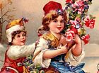 Antique Best Wishes Postcard CHILDREN ICE SKATING HOLDING ROSES Glitter Germany