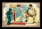 1911 BLACK AMERICANA WHITE WOMAN WEIGHING ON A PERSON SCALE WITH BOY AND MAN