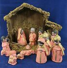 Nativity Set with Manger Creche Rustically Hand Painted 15 pc Pink Gold 5 Vtg