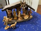 VTG 1983 Fontanini Nativity Set Wood Stable Baby Jesus Mary Joseph Animals MINT