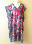 Floral Gypsy Batik Caftan Batwing Viscose Dolman Maxi Dress KB69 - XL, 1X