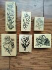 Lot of 6 Flower Rubber Stamps by PSX Basket Roses Iris and More