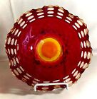 Fenton Amberian Basketweave With Open Edge 9 Shallow Crimped Bowl