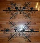 HUGE Pair Antique GOTHIC Medieval Style Wrought IRON Candle holders Decor Props