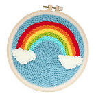 Colorful Rainbow Pattern Punch Needle Embroidery Kits with Basic Tools 20cm