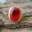 Oval Faceted Dark Red Ruby Gemstone Sterling Silver Rose Gold Plated Gift Ring