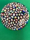 Venetian Murano Italy Glass Paperweight Milifiori Flower Sticker Vintage Bright