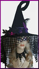 Halloween Black Witch Hat with Curled Tail FeathersSpooky Veil by Jypsy Jane