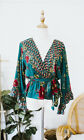 1X Boho Bohemian Green Floral Top Blouse Faux Wrap X Large New NWT Flared Sleeve