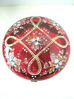 Antique Moser Cranberry Glass Hinged Powder Trinket Dish Enamel Decor Footed