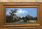 Vintage Signed Reverse Painted Glass Painting Equisite Wood Frame Water Mill