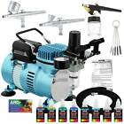 Master 3 Airbrush Air Compressor Kit Holder 6 Primary Colors Acrylic Paint Set