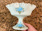 Fenton Satin Glass Ruffled Floral Dish Pedestal Signed Hand Painted Compote