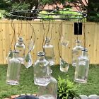 Hanging Glass Vase Bottles with crystals By Creative Co Op Vintage Farmhouse