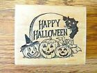 HAPPY HALLOWEEN WITH PUMPKINS AND CAT Rubber Stamp By PSX F 174