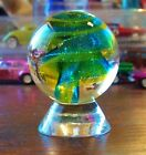 HOT HOUSE GREEN BLUE CORKSCREW GLASS MARBLE 1 3 4 2007 VERY BEAUTIFUL