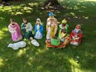 VTG 9 Pc Blow Mold Nativity Set Empire Outdoor Full Size Donkey Sheep Shepherd