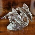 Vintage Crystal Art Glass Double Jumping Dolphins on Waves Sculpture