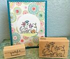 Stampabilities Fluffles Cat  Snail Rubber Stamp  Stampin Up Grateful  Card