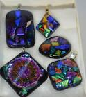 SEDONA ARTIST DICHROIC FUSED GLASS PIN PENDANTS 5 PC LOT SIGNED