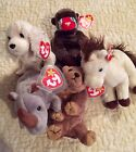 Beanie Babies Lot, tags all attached. Cheeks, Laptop, Spike, Pecan, Marshall
