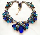 Breathtaking CZECH Multi Color Blue Purple Lilac AB Rhinestone Glass Necklace